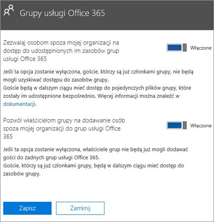 Umożliwianie osobom spoza organizacji uzyskiwania dostępu do grup i zasobów usługi Office 365