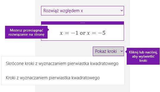 Przycisk Pokaż kroki w okienku zadań matematyczne