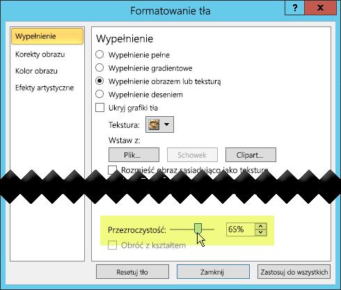 Okno dialogowe Formatowanie tła zawiera suwak Przezroczystość umożliwiający dostosowanie obrazu