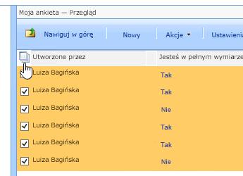 Na ekranie menedżera witryny z ankiety zaznaczony, kliknij ikonę Zaznacz wszystko.