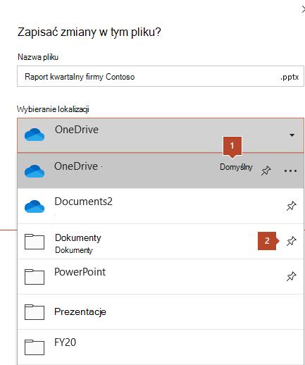 Okno dialogowe Zapisywanie w pakiecie Microsoft Office 365 z listą folderów.