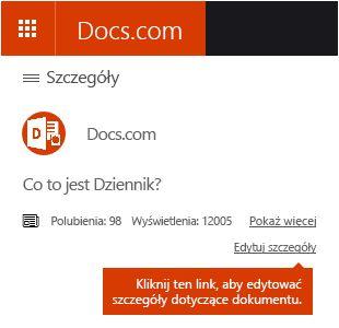 Opcja edycji szczegółów w witrynie Docs.com