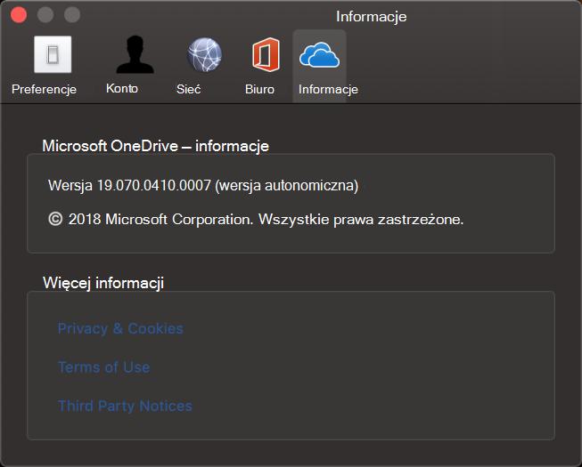 OneDrive dla komputerów Mac — informacje o interfejsie użytkownika