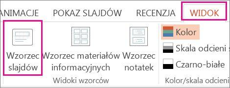 Na karcie Widok kliknij pozycję Wzorzec slajdów