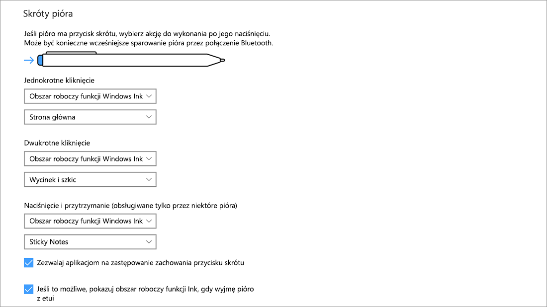 Ustawienia skrótów pióra w obszarze Start > Ustawienia > Urządzenia > Pióro i funkcja Windows Ink.