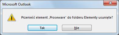 Okno dialogowe potwierdzenia usunięcia folderu