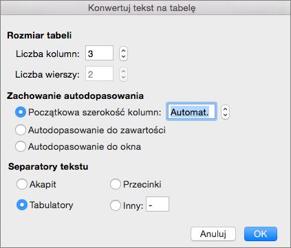 Opcje konwertowania tekstu na tabelę