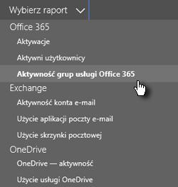 Wybieranie raportu — grupy usługi Office 365