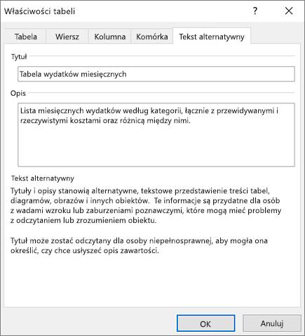 Zrzut ekranu przedstawiający kartę Tekst alternatywny okna dialogowego Właściwości tabeli z opisem zaznaczonej tabeli