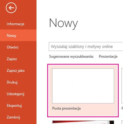 Na ekranie nowe wybierz pustą prezentację.
