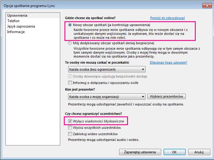 Zrzut ekranu: wyłączanie wiadomości błyskawicznych w oknie opcji spotkania programu Lync
