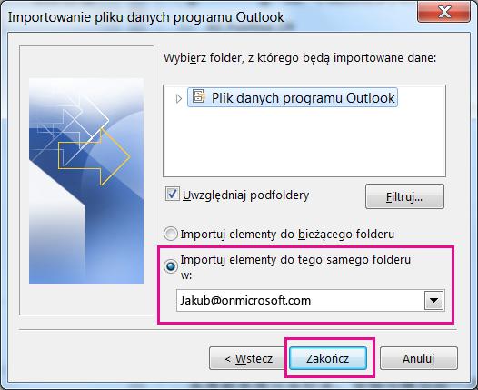 Wybierz przycisk Zakończ, aby zaimportować plik pst programu Outlook do skrzynki pocztowej usługi Office 365.