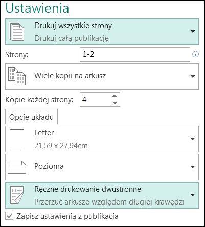 Konfigurowanie drukowania na obu stronach arkusza w programie Publisher.