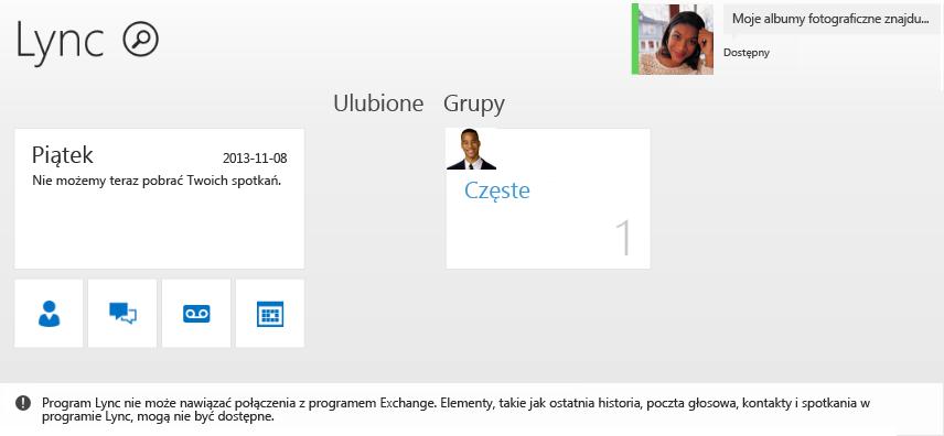 Zrzut ekranu przedstawiający błąd: Program Lync nie może nawiązać połączenia z programem Exchange. Elementy, takie jak ostatnia historia, poczta głosowa, kontakty i spotkania w programie Lync, mogą nie być dostępne.