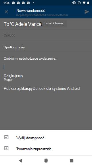 """Przedstawia ekran systemu Android zwyszarzoną wersją roboczą wiadomości e-mail iprzyciskiem """"Wyślij dostępność"""" poniżej."""