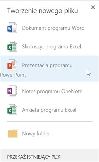 Tworzenie nowej prezentacji programu PowerPoint