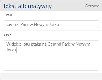 Zrzut ekranu przedstawiający okno dialogowe Tekst alternatywny aplikacji Word Mobile zawierające pola Tytuł i Opis.