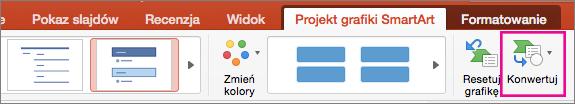 Pozycja Konwertuj grafikę SmartArt na tekst w programie PowerPoint dla komputerów Mac