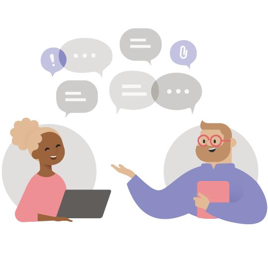 Ilustracja przedstawiająca dwie osoby prowadzące rozmowę na czacie