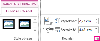 Przycisk uruchamiania okna dialogowego w grupie Rozmiar na karcie Narzędzia obrazów > Formatowanie