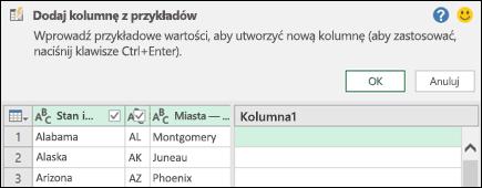 Kolumna połączona z przykładu w dodatku Power Query: okienko