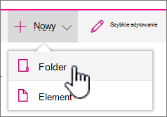 + Nowe menu rozwijane z wyróżnioną pozycją folder