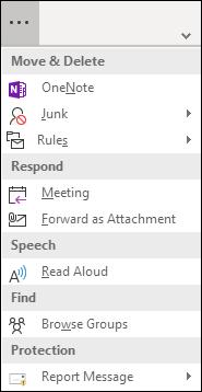 Kliknij trzy kropki, aby wyświetlić listę dodatkowych pozycji menu na Wstążce uproszczonej.