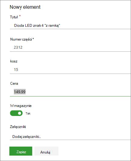 Formularz Jednoelementowy do listy
