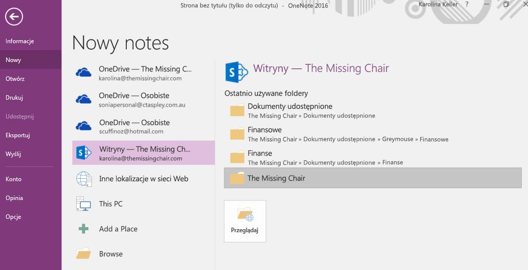 OneNote dla systemu Windows 2016 interfejs nowego folderu notesu