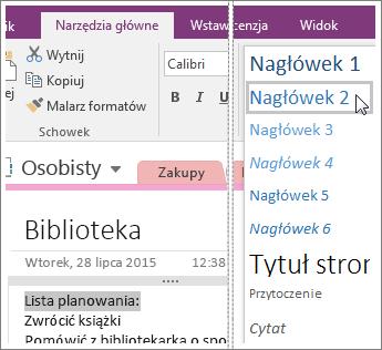 Zrzut ekranu przedstawiający menu rozwijane Style w programie OneNote2016.