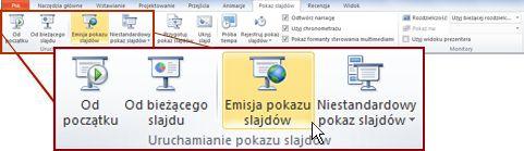 Pozycja Emisja pokazu slajdów w grupie Uruchamianie pokazu slajdów na karcie Pokaz slajdów w programie PowerPoint 2010