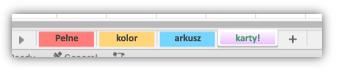Zrzut ekranu przedstawiający karty arkusza, które mają kolory wypełniające całą kartę.