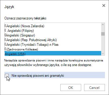 Okno dialogowe Język