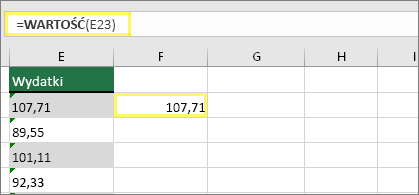Komórka F23 z formułą =WARTOŚĆ(E23) i wynikiem 107,71