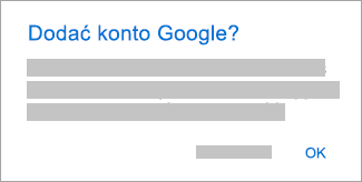 Naciśnij przycisk OK, aby zezwolić aplikacji Outlook na dostęp do Twoich kont.