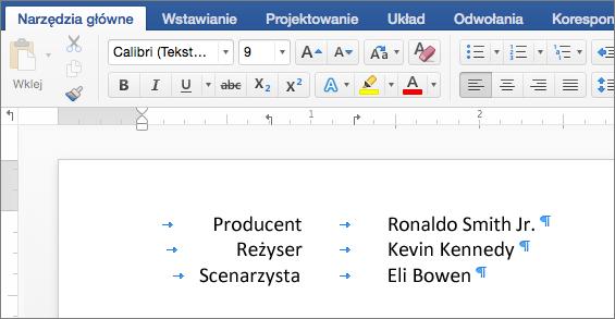 Przykładowy tekst wyrównany do pozycji tabulatorów na linijce.