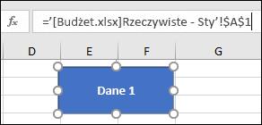 Zaznaczony kształt pokazujący nazwę linku na pasku formuły