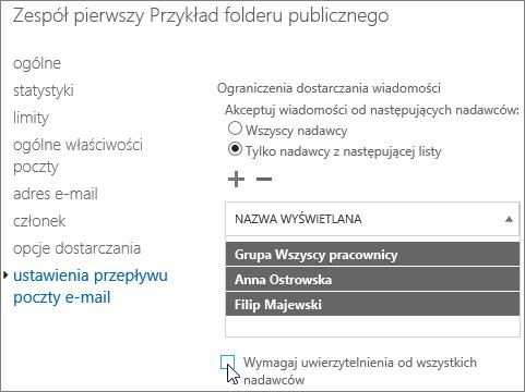 listy niestandardowe dozwolonych nadawców do folderu publicznego w celu ułatwienia rozwiązania 5.7.135 powiadomienia o stanie