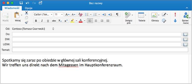 Zdanie w języku angielskim i zdanie w języku niemieckim z błędnie napisanym wyrazem po niemiecku. Błędnie napisany wyraz podkreślony czerwoną linią.