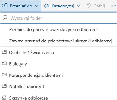 Rzut skrzynki odbiorczej w programie Outlook w sieci web