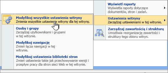 Modyfikowanie wszystkich opcji Ustawienia witryny w obszarze Ustawienia witryny