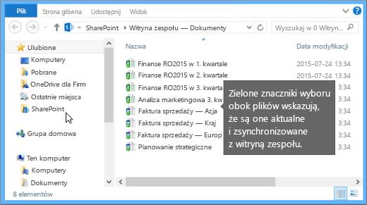Użyj Eksploratora plików, aby przejść do zsynchronizowanego pliku na komputerze. Znajduje się on w folderze SharePoint.