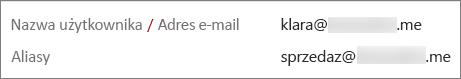 Ten użytkownik ma adres podstawowy oraz alias.