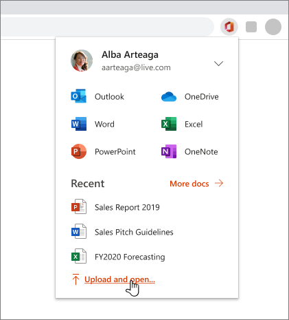 Obraz przeglądarki z otwartym rozszerzeniem pakietu Office, do którego się zalogowano