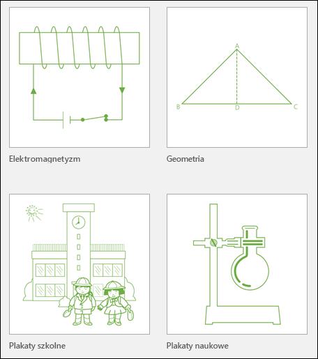 Cztery miniatury szablonów edukacyjnych programu Visio od firmy Microsoft