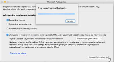 Wyszukiwanie aktualizacji na poziomie Niejawny program testów — wolne aktualizacje na komputerze Mac