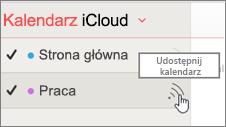 Ikona udostępniania kalendarza w iCloud
