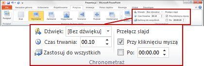Grupa Chronometraż na karcie Przejścia na wstążce programu PowerPoint 2010