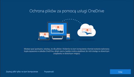 Zrzut ekranu przedstawiający obszar Ochrona plików za pomocą usługi OneDrive w ustawieniach systemu Windows 10
