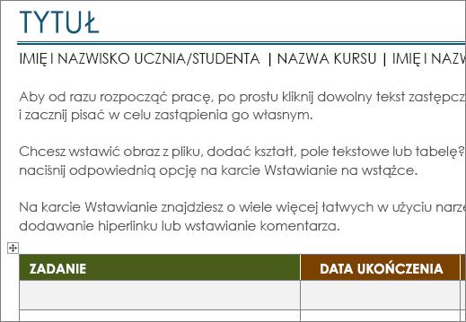 Nowe: szablon Lista zadań w projekcie o minimalnym rozmiarze czcionki 11 pt.